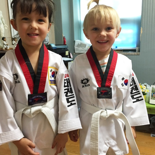 Finn at his first taekwondo class